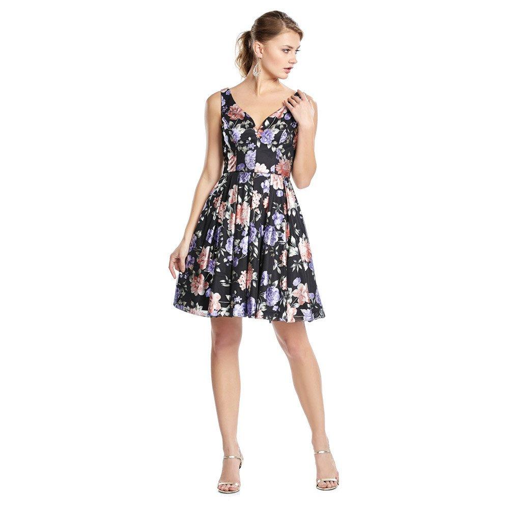 fb8eb9d9d68a Grisel vestido corto con estampado de flores, escote corazón y tirantes  anchos.