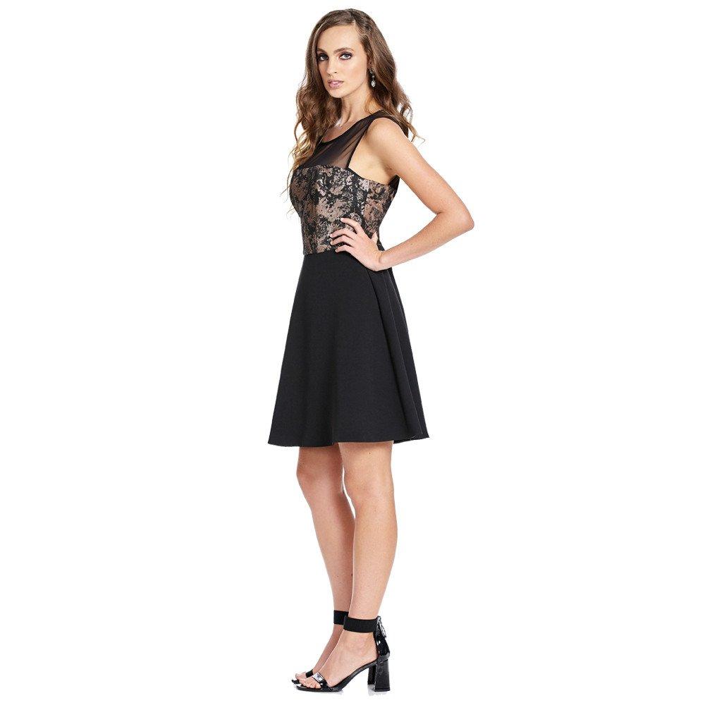 8d56c9db Shantal vestido corto línea A sin mangas con detalle de ...