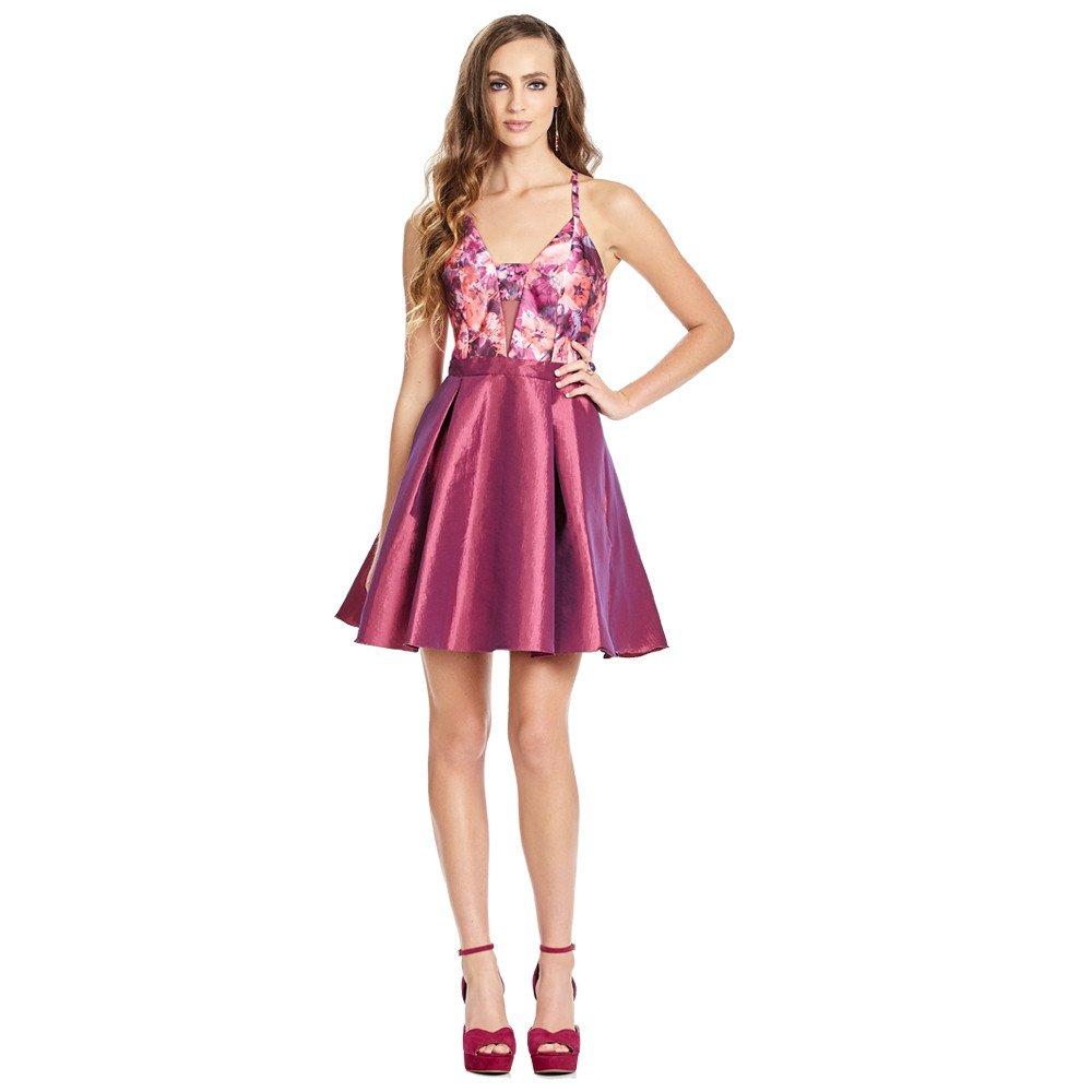 Precio al por mayor 2019 seleccione para auténtico buscar autorización Eleonor vestido corto escote V con transparencia