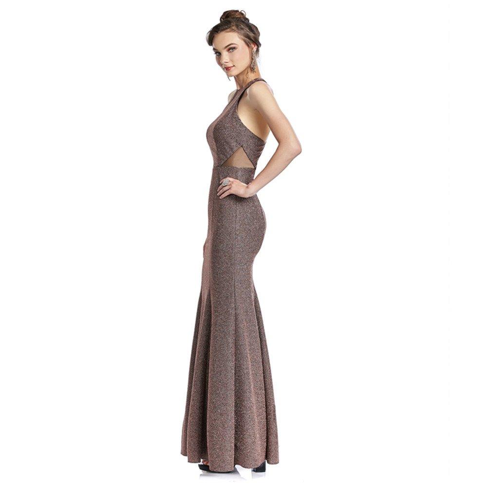 92d42225ff Antonela vestido largo halter con corte sirena y transparencias ...