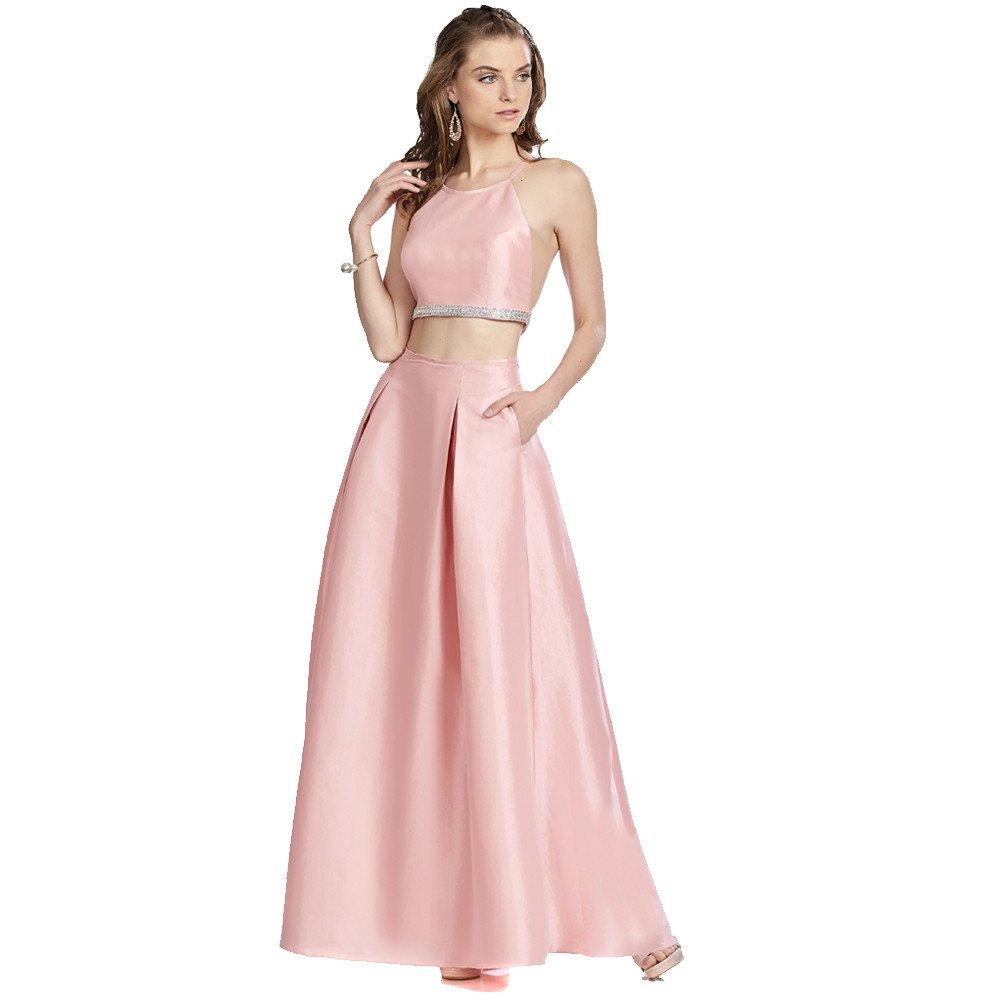 6c84798f2 Tina vestido de dos piezas con top halter y falda línea A