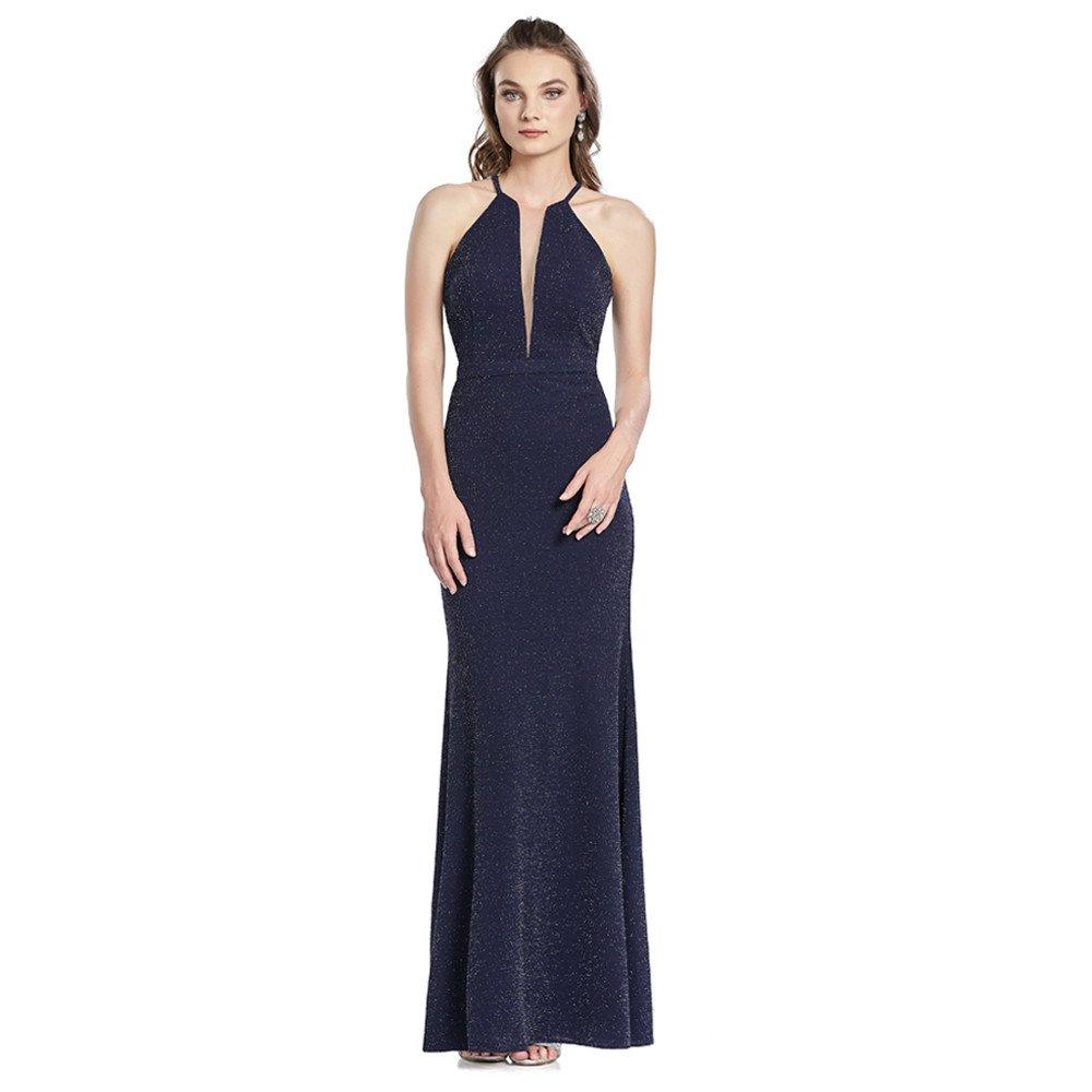 5891a83a41 Brigitte vestido largo de falda recta con escote tipo halter y transparencia