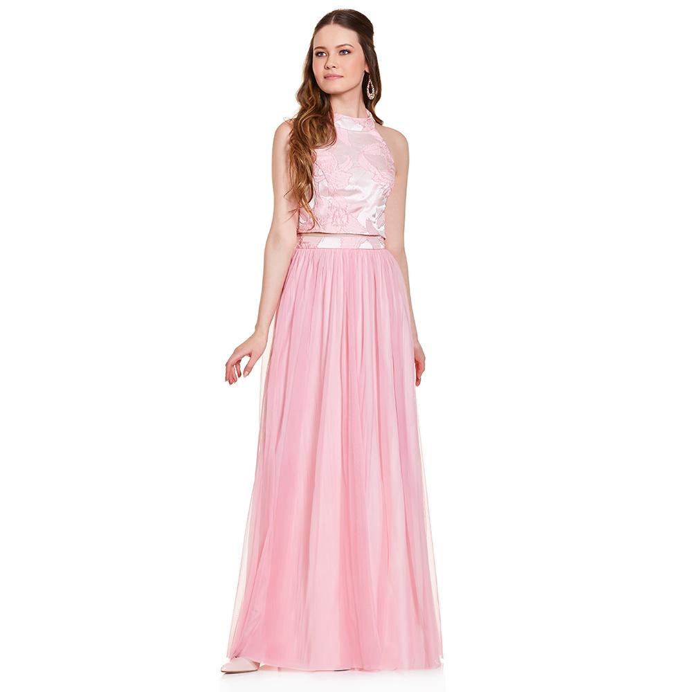 Vilma vestido largo dos piezas halter floral | Eva Brazzi