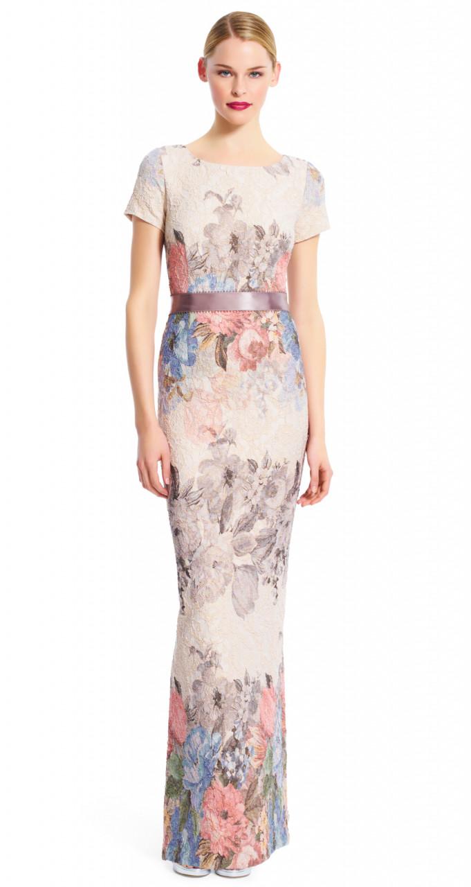Matelasse column gown