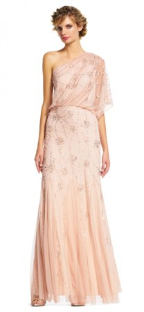One shoulder blouson beaded long dress