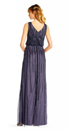 Long beaded blouson gown