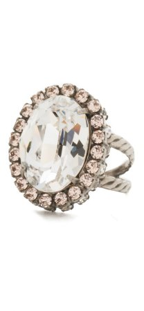 Anillo glamoroso de cristal corte ovalado