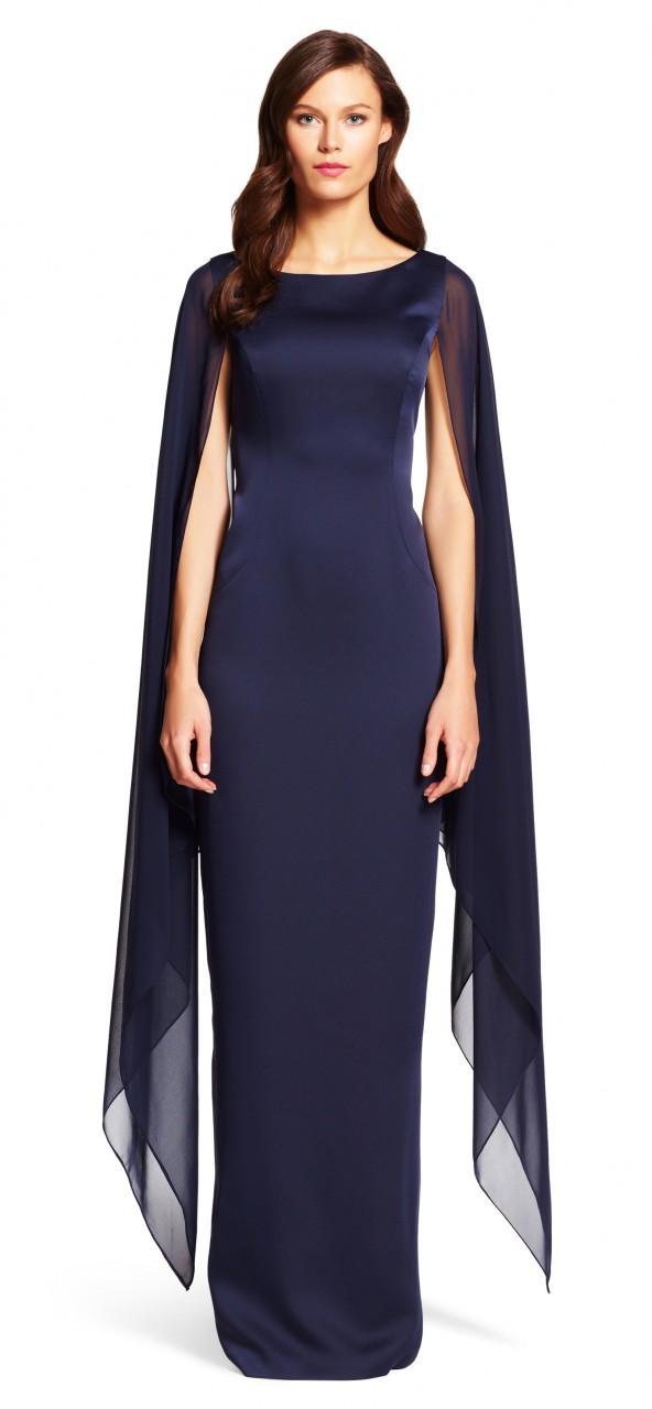 Vestido satinado de columna con capa de gasa
