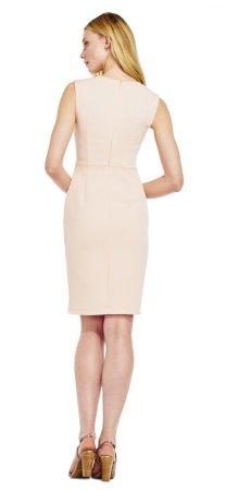Vestido jacquard sin mangas con escote plisado