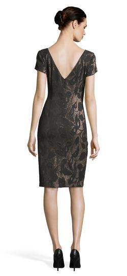 Metallic floral jacquard sheath dress with short sleeves