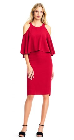 Textured crop cold shoulder sheath