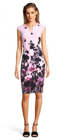 vestido de fiesta floral con escote muesca