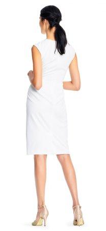 Vestido ajustado de crepé con acentos dados por botones