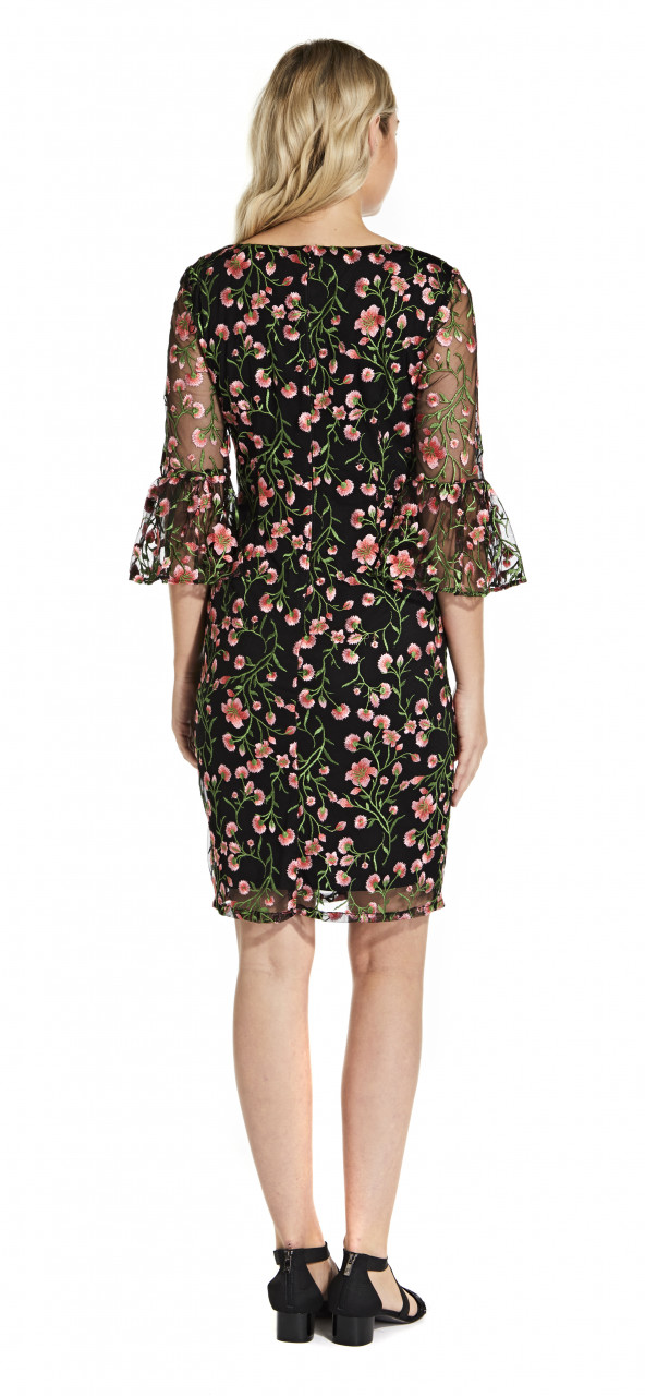 Floral vines bell sleeve dress