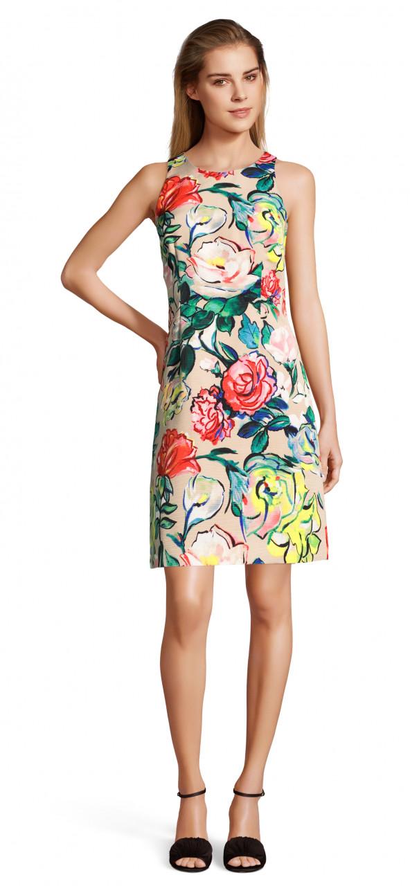 Vestido corto halter con estampado floral tipo vitral