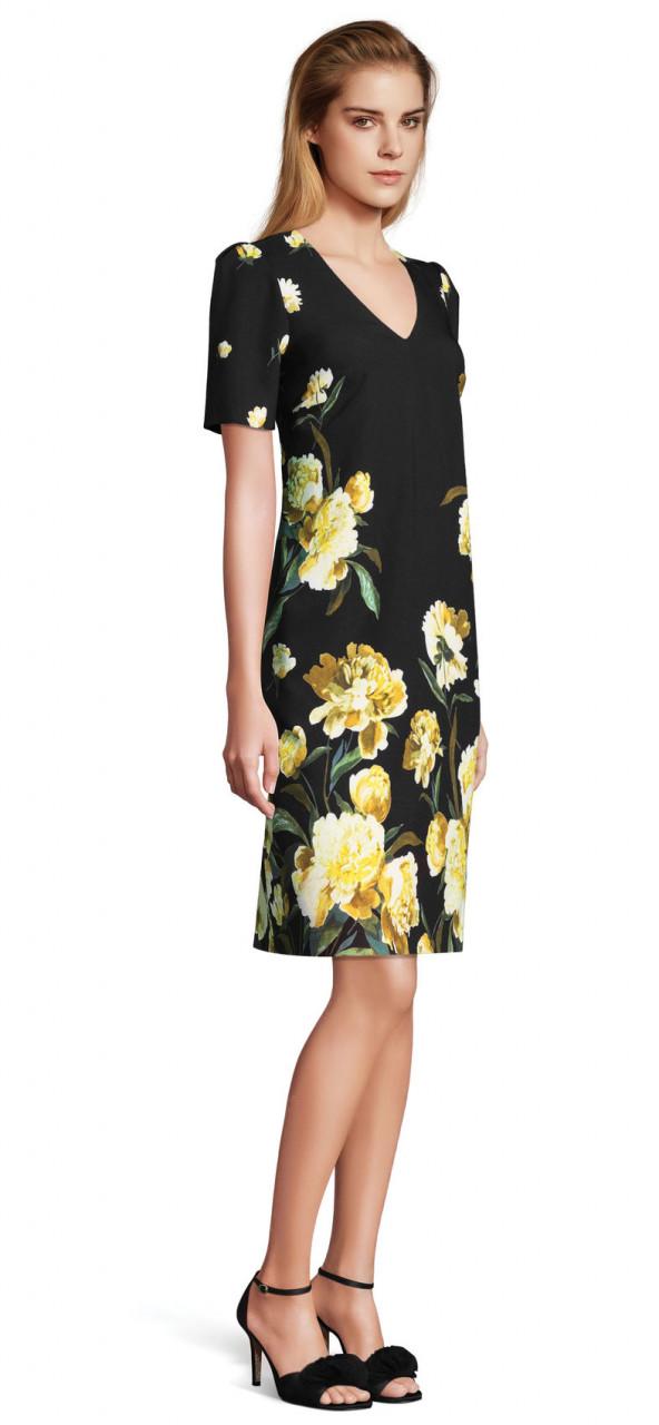 vestido floral de jardín dorado con manga corta