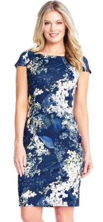 Vestido  con estampado floral de Hortensias de manga corta
