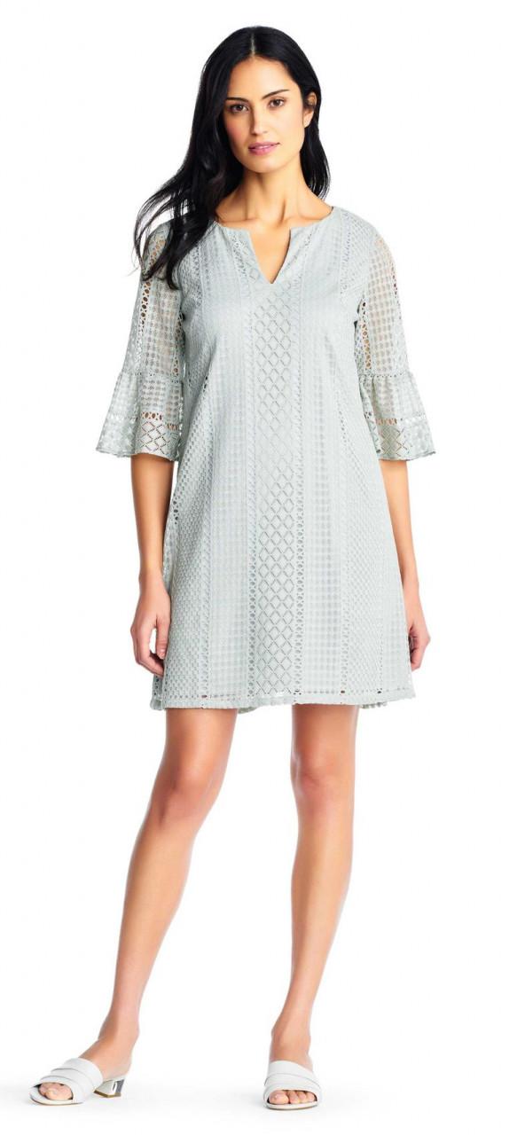 f3f024a39 vestido de cambray de encaje a rayas vintage con mangas acampanadas ...
