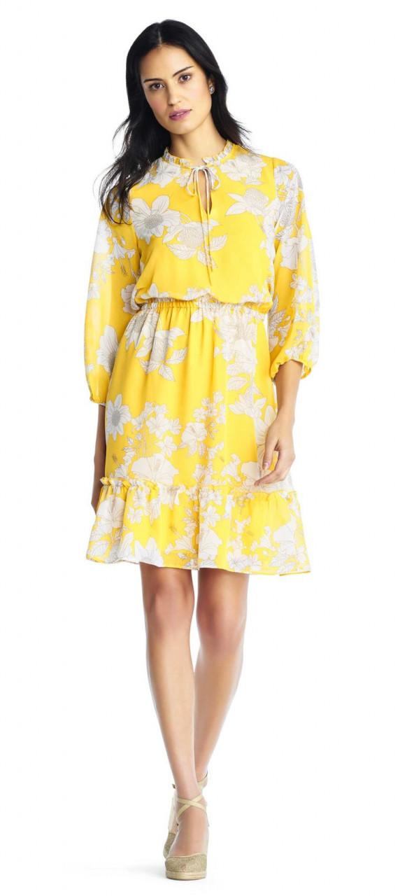 vestido de blusa de gasa bloomson susurrando con manga tres cuartos ...