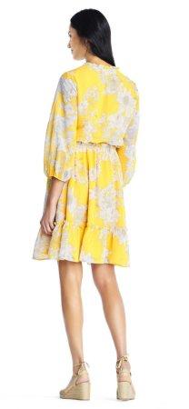 vestido de blusa de gasa bloomson susurrando con manga tres cuartos