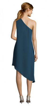 One shoulder draped gauzy crepe dress