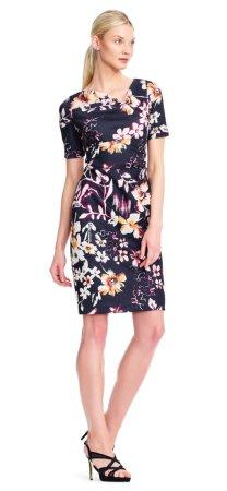 vestido de manga floral manga corta con escote asimétrico