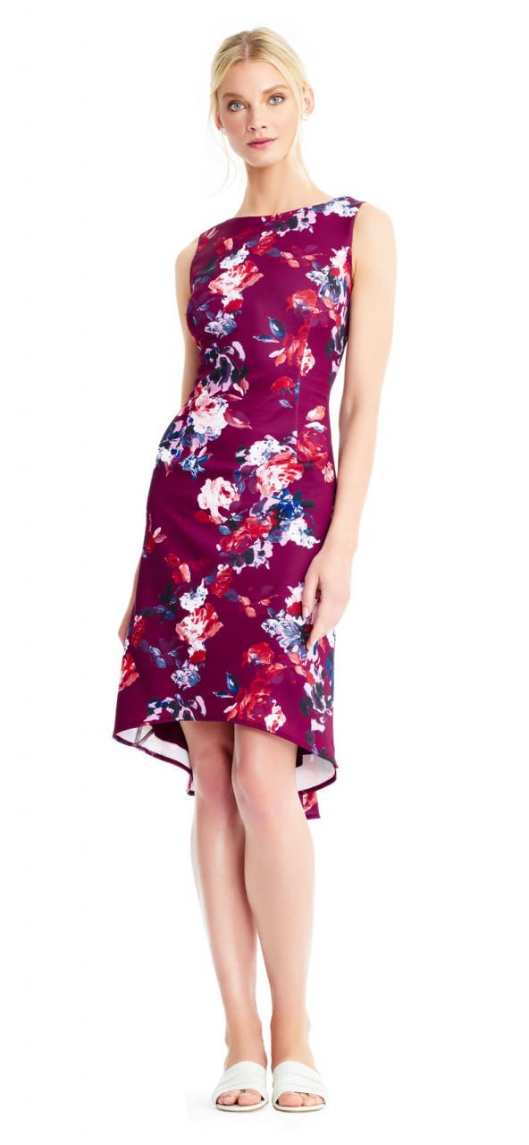 Vestido sin mangas con estampado floral y falda de trompeta