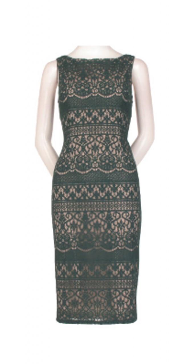 Scalloped striped sheath dress