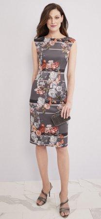 Vestido sin mangas de rayas florales con cremallera expuesta