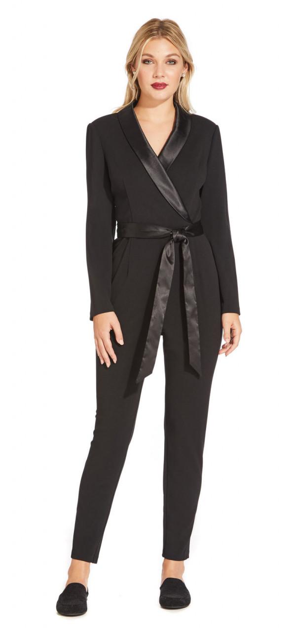 Jumpsuit crepé mangas largas y cuello esmoquin