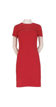 Short Sleeve Pintuck Dress with Sheer Neckline