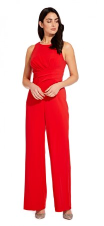 Racer neckline draped jumpsuit