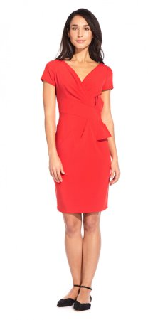 Bow waist v neck sheath dress