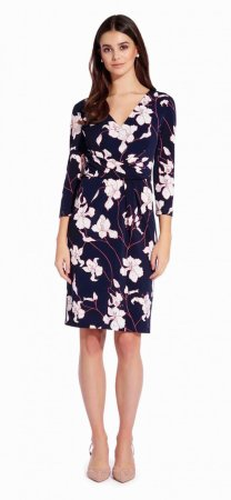 Printed crepe knit sheath dress