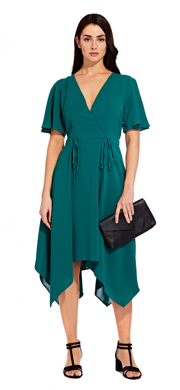 Gauzy crepe tie dress