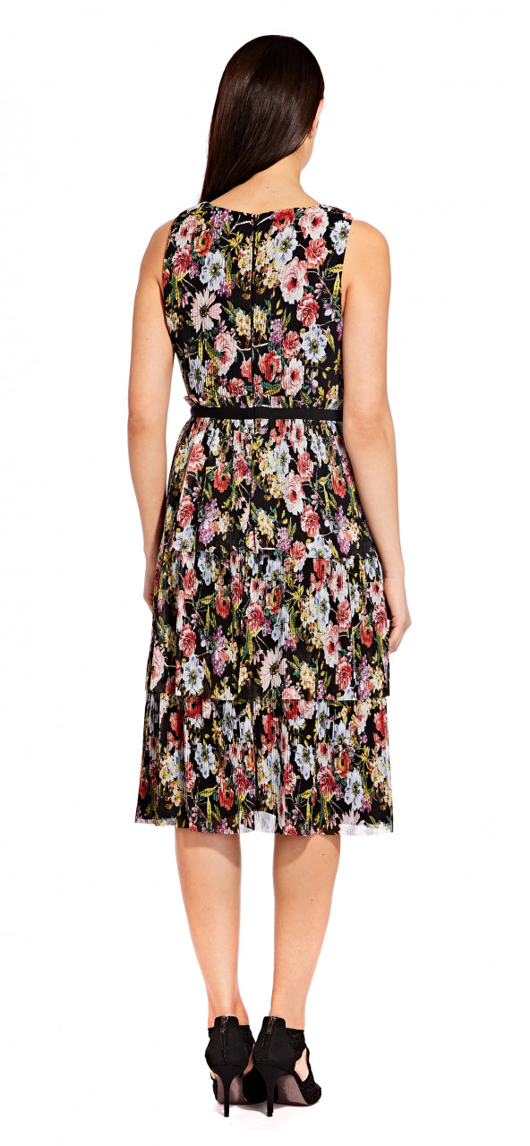 Garden space pleated tiered dress