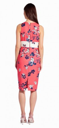 Etched blooms printed sheath dress