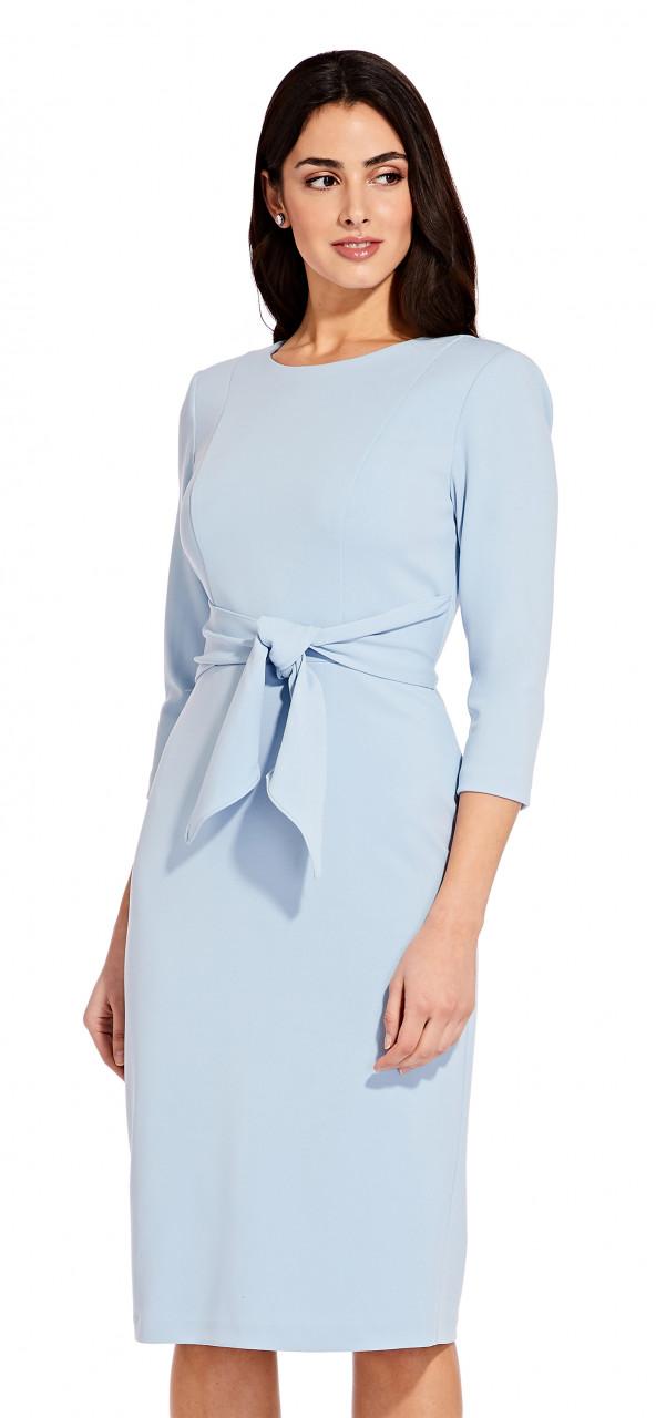 Knit crepe tie waist sheath