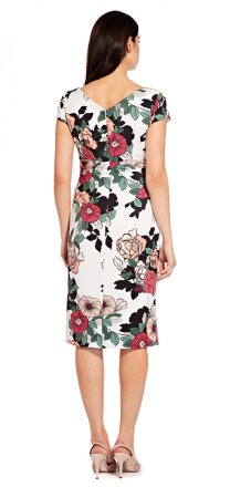 Sweet caroline hibiscus draped sheath dress