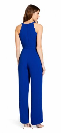 Scalloped halter jumpsuit