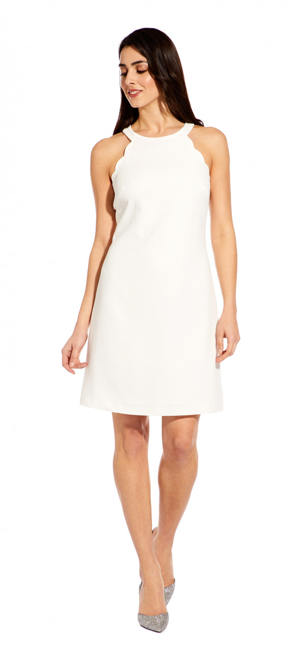 Scalloped halter a line dress