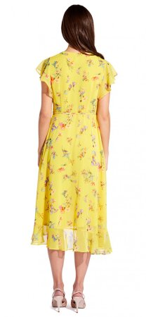 Sunny corsage midi wrap dress