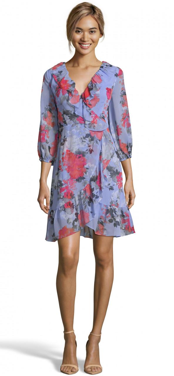 Coral blossoms faux wrap dress