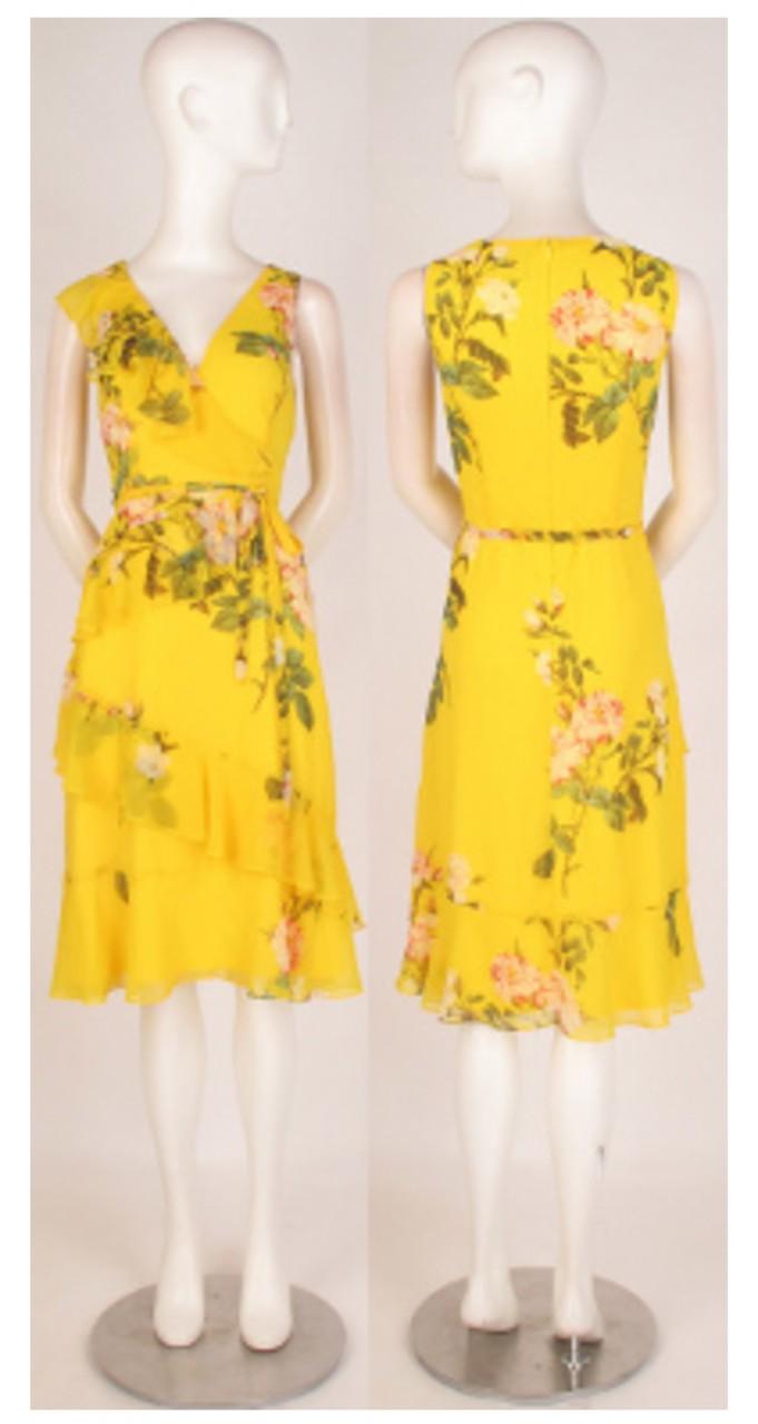 Printed chiffon ruffle dress
