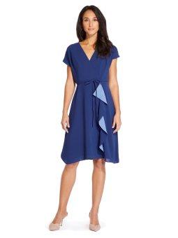Gauzy crepe ruffle drape dress