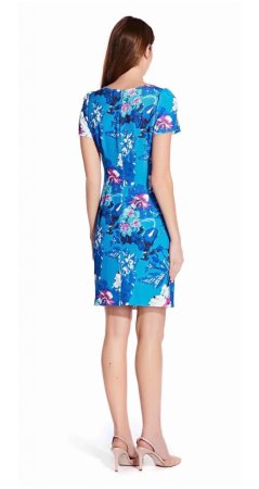 Crew neck floral sheath dress