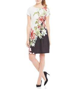 Scuba printed a-line dress