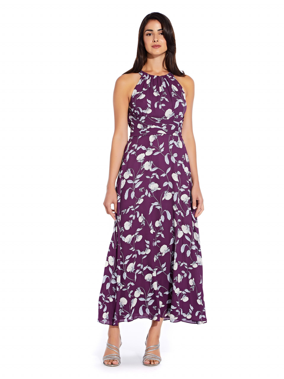 Botanical halter maxi dress