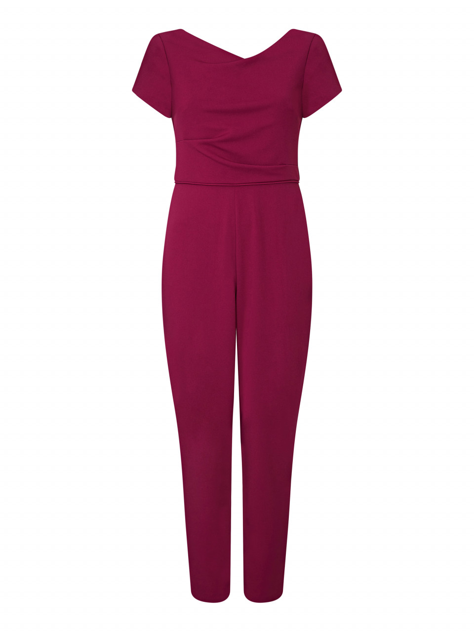 Knit crepe cowl neck jumpsuit
