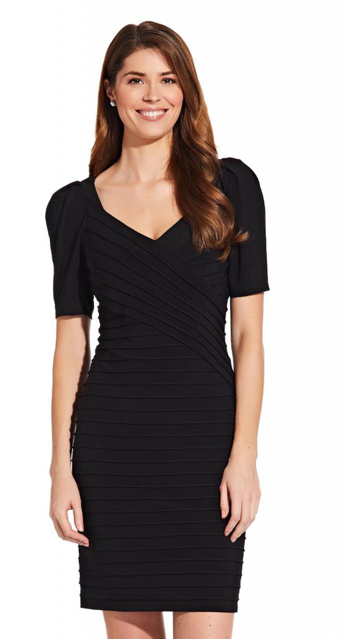 Elbow sleeve sheath dress with draped shoulder